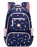 FLHT, Children's School Bag 2-6 Grade Primary School Boys And Girls Backpack, 8-12 Years Old Lightweight Weight Loss Waterproof Travel Backpack,Darkblue-OneSize