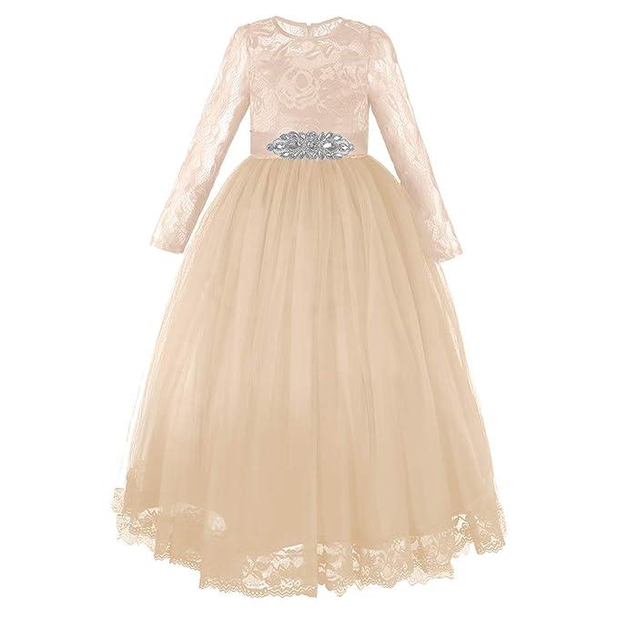 Amazon.com: FYMNSI - Vestido de novia de encaje de tul con ...