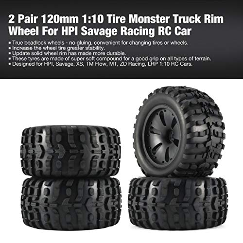 2 Pair 120mm 1:10 Tire Monster Truck Rim Wheel for HPI/Savage Racing RC Car