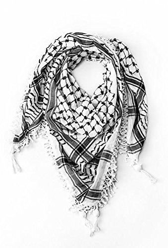 100/% Cotton Premium Arab Shemagh Tactical Desert Scarf for Men or Women Black /& White