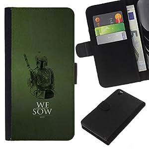 KLONGSHOP // Tirón de la caja Cartera de cuero con ranuras para tarjetas - No sembramos - HTC DESIRE 816 //