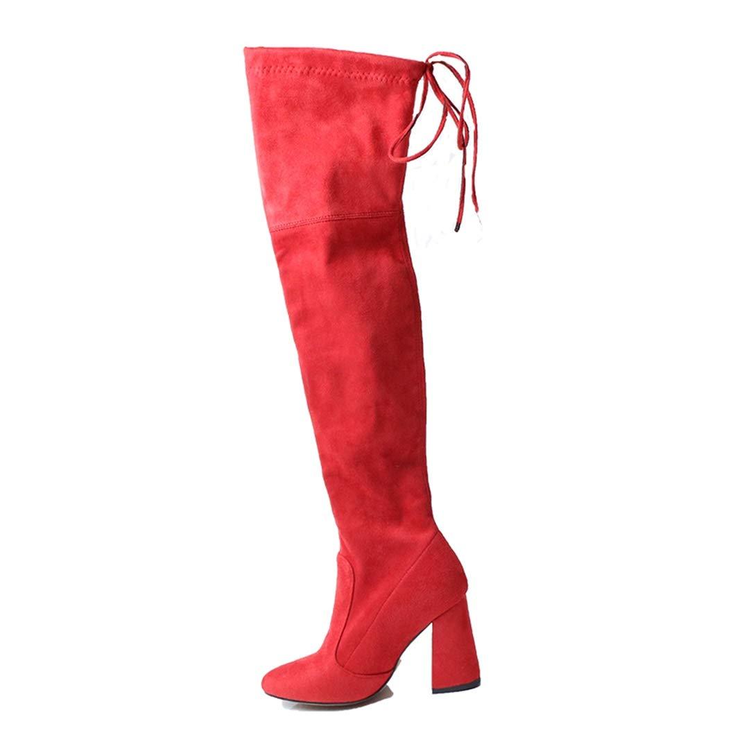 Flock Leder Stiefel Frauen Overknee Stiefel Sexy High Heels Schnüren Winterstiefel für Frauen