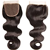Free Part Lace Closure 4×4 Brazilian Body Wave Unprocessed Virgin Human Hair Closure 1 Piece Natural Black Color (Free Part Closure 16 inch) Review