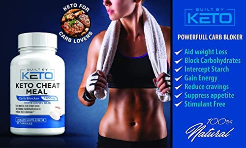 Carb Blocker - 1200mg White Kidney Bean Extract - Keto Cheat Meal - Best Carb, Starch, Fat Blocker for The Ketogenic Diet - Eat Carbs While on Keto - 60 Capsules - Built By Keto 4
