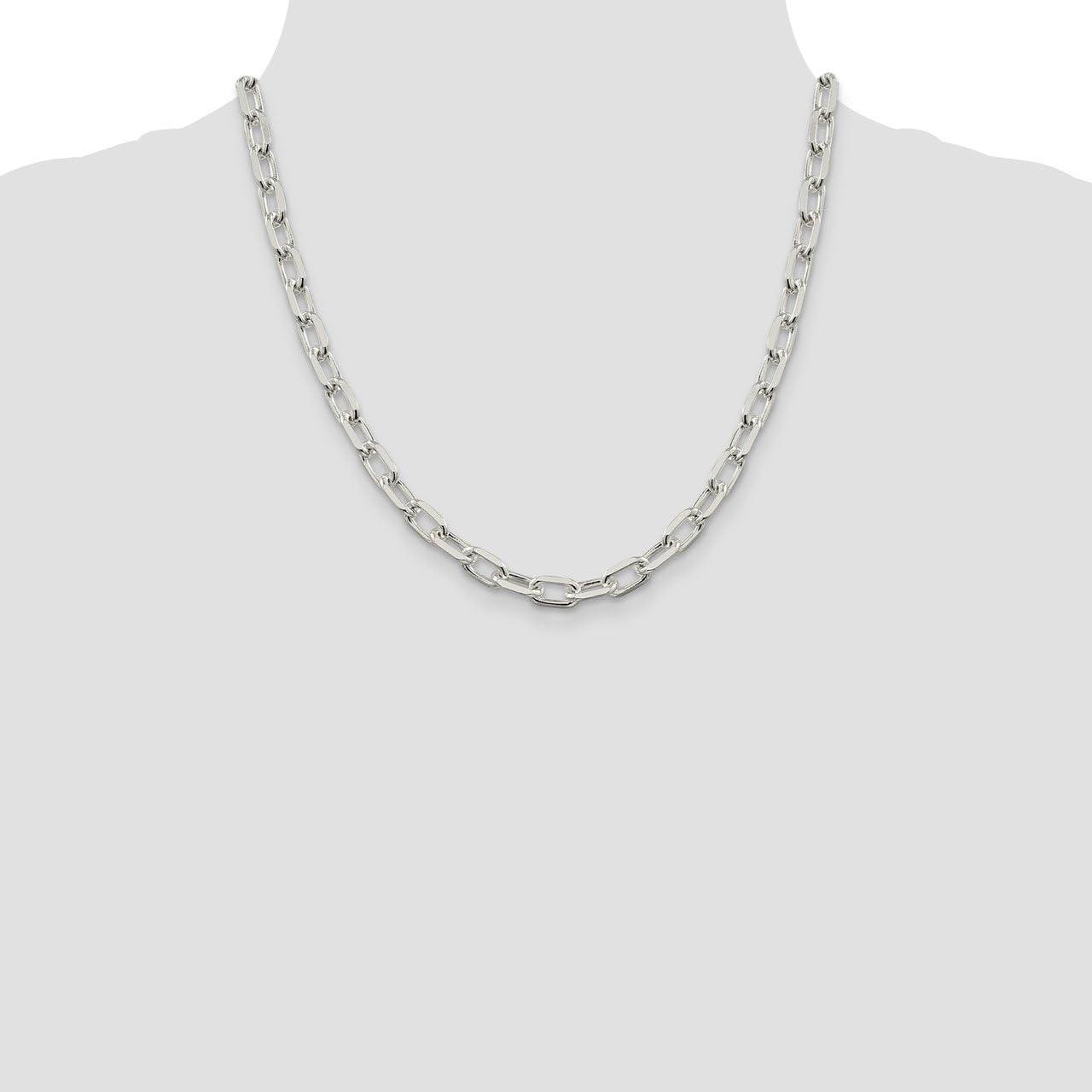 Lex /& Lu Sterling Silver 7.5mm Fancy Link Necklace