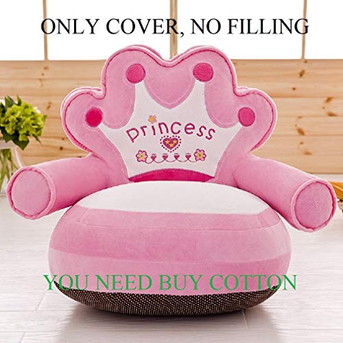 ((Only Cover NO Filling) Prince Imperial Crown Plush Bean Bag,Pink Blue Chair Seat for Children,Cartoon Tatami Chairs,Birthday Gifts for Boys and Girls, Sofa Baby Sits, This is The Cover (Pink))