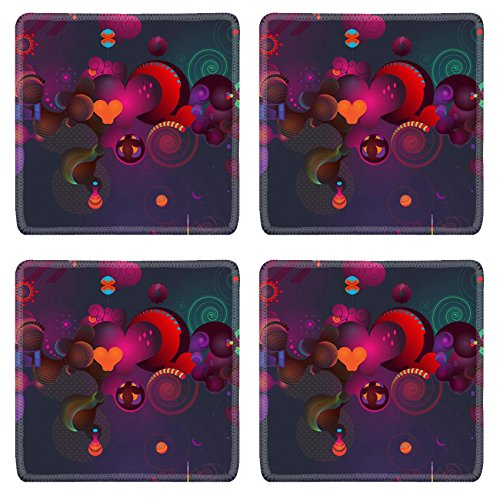 MSD Natural Rubber Square Coasters Set of 4 IMAGE of background illustration design abstract red decoration vector pattern celebration wallpaper star bright shiny color - Four Free Images Seasons