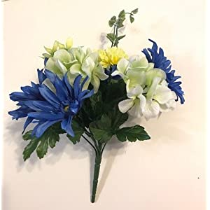 Silk Green,and Blue Daisy & Hydrangea Bouquet, home decor, floral arrangement, bridal bouquet, 10