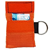 Elysaid 50 Cpr Mask with Keychain Cpr Face Shield Aed Orange Pouch Writing Cpr 30:2