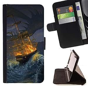 BullDog Case - FOR/Sony Xperia M2 / - / ship storm pirate seas waves night painting /- Monedero de cuero de la PU Llevar cubierta de la caja con el ID Credit Card Slots Flip funda de cuer