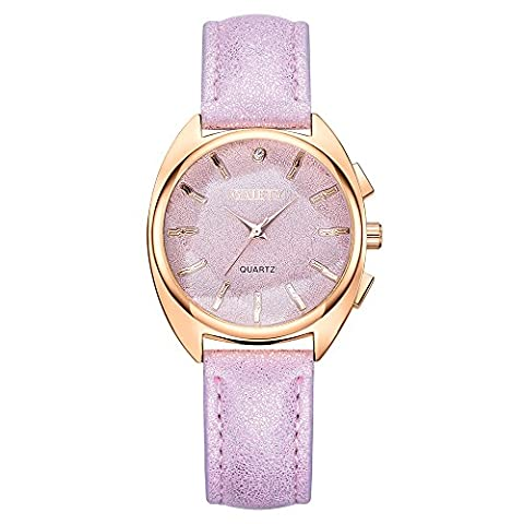 GAIETY Analog Quartz Leather Band Fashion Watches for Women Rose Gold Bezel G445 (Purple) (Purple Gold Watch)