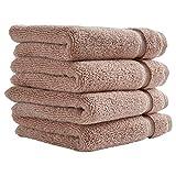 Stone & Beam Classic Egyptian Cotton Washcloth Set, Set of 4, Rose