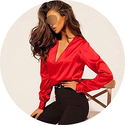 2019 Sexy Fashion V Neck Satin Blouse Shirt Casual Long Sleeve Button Women's Slim Blouses,red,S]()