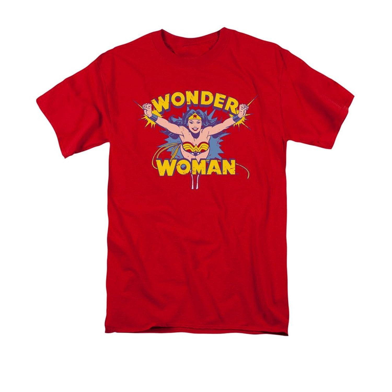 DC Comics Wonder Woman Vintage Style Flying Through Logo Red Adult T-Shirt