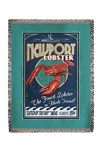 - Newport, Rhode Island - Lobster Vintage Sign 51527 (60x80 Woven Chenille Yarn Blanket)