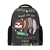Backpack Rucksack Laptop Bag Shoulder Daypack for Student Sloth Sleeping On Tree 16x6x11in