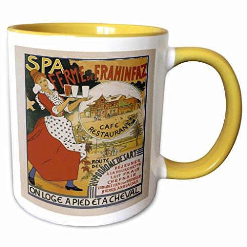 3dRose BLN Vintage Les Maitres de l Affiche Poster - Vintage Spa Ferme de Frahinfax Café Restaurant Advertising Poster - 15oz Two-Tone Yellow Mug (mug_149333_13) ()