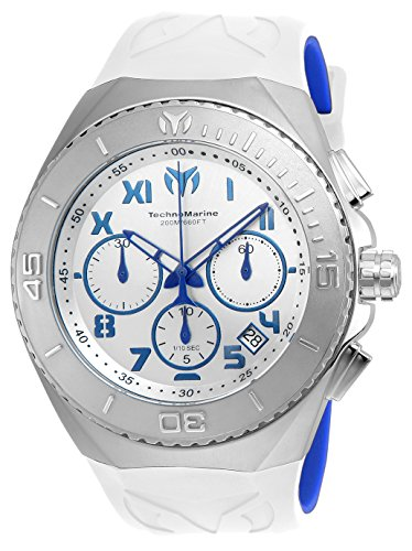 Technomarine Men's 'Manta' Quartz Stainless Steel and Silicone Casual Watch, Color:White (Model: