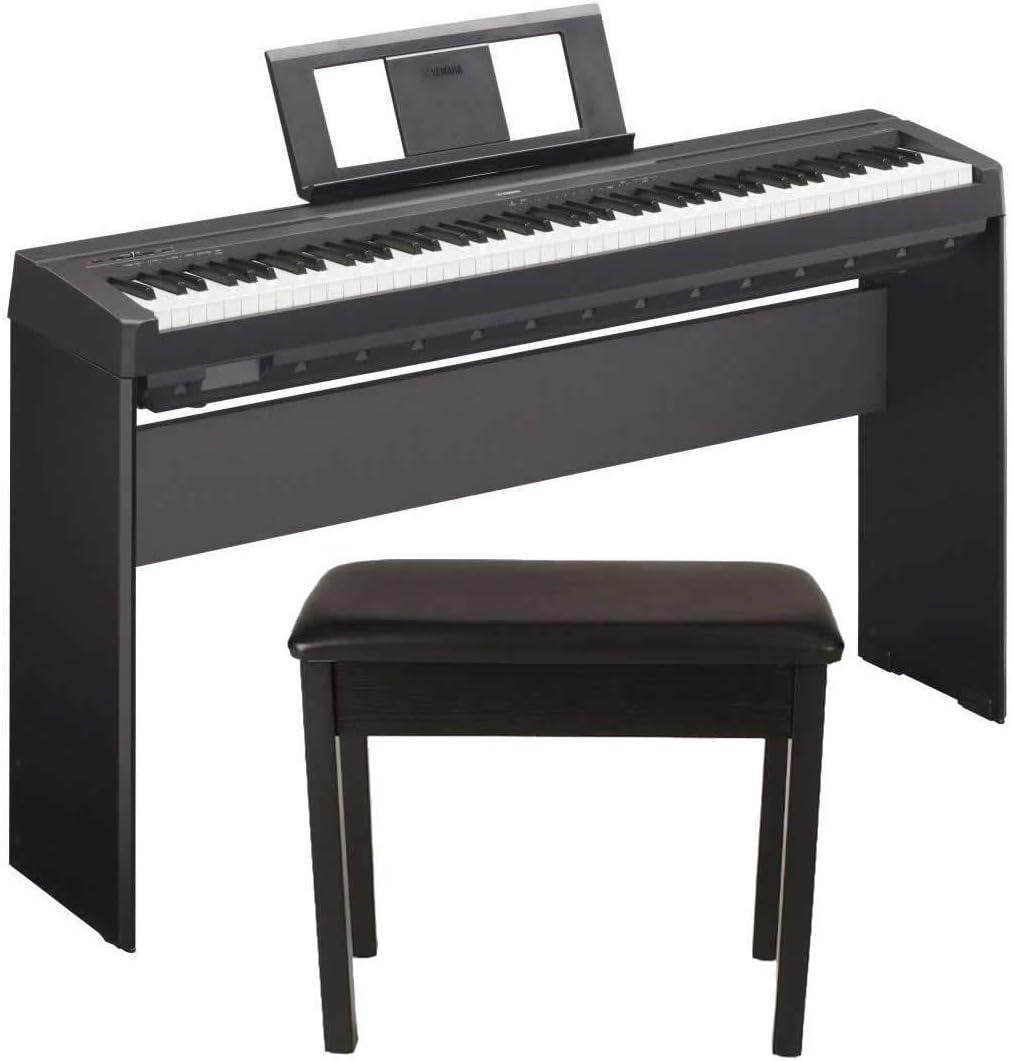 Yamaha P45 88-Key - Piano digital con soporte de madera y banco de piano de madera acolchado, color negro