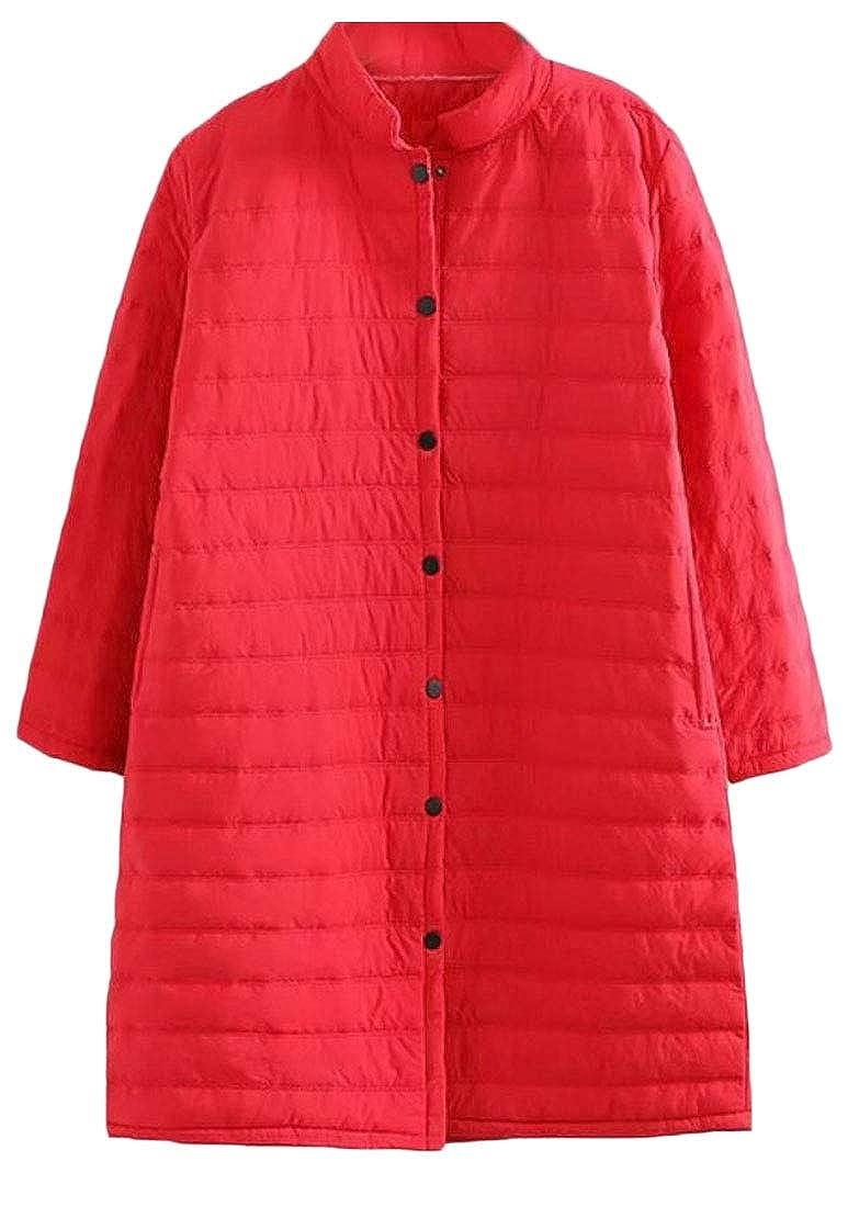 Red jxfd Women's Solid Stand Collar Full Zip Packable Long Puffer Down Coat