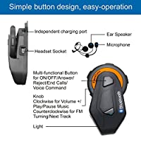 Motorcycle Helmet Bluetooth 4.1 Intercom Headset Communication Systems Kit,Connect Up to 6 Riders/Range 1500m/Waterproof IP65/Independent Charging Port/Vioce Command/Stereo Music/FM Radio/GPS (2 Pack) from Freedconn