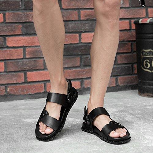 Wagsiyi Nero pantofole Scarpe Spiaggia Sandali Nero Dimensione 40 da Marrone Da spiaggia Da Pelle Uomo Colore In EU 1Sr1wqxT