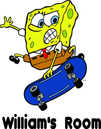 (Personalized Names Custom Name Sponge Bob Square Pants TV Show Movie Movies Shows Hero Vinyl Wall Decals Decal Stickers for Kids Bedroom Kid Rooms Children Decor Size 20x20 inch)