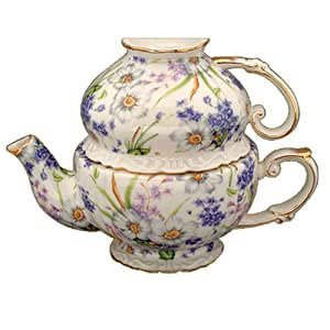 Gracie China by Coastline Imports Porcelain 3-Piece Tea Set for One, Blue/Violet