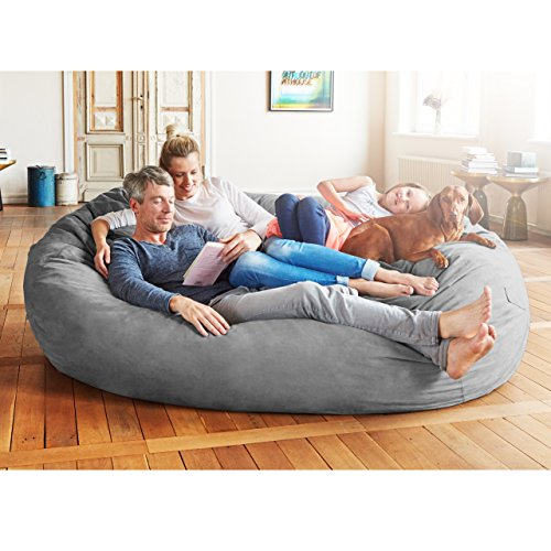 Lumaland Luxury 7-Foot Bean Bag Chair with Microsuede Cover Dark Grey, Machine Washable Big Size Sofa and Giant Lounger Furniture for Kids, Teens and Adults