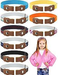 9 Pieces No Buckle Kids Belt Toddler Elastic Belt Kids Adjustable Invisible Belt (Color 1)
