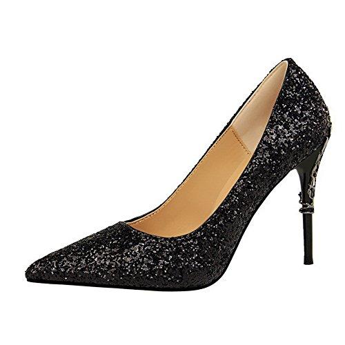 Unie Agoolar Pointu Femme Chaussures À Noir Couleur Tire Talon Haut Légeres wXO1w