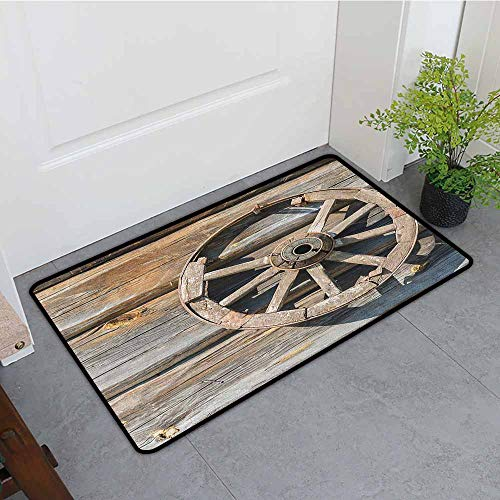 Anhounine Barn Wood Wagon Wheel Waterproof Door mat Old Log Wall with Cartwheel Telega Rural Countryside Themed Image Personality W23 x L35 Umber Beige (Cartwheels Wagon Classic)