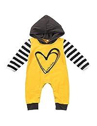 Annvivi Baby Boys Love has No Limits Love Heart Hooded Striped Romper