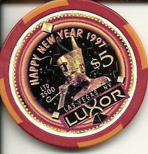 5 luxor 1997 happy new year las vegas casino chip