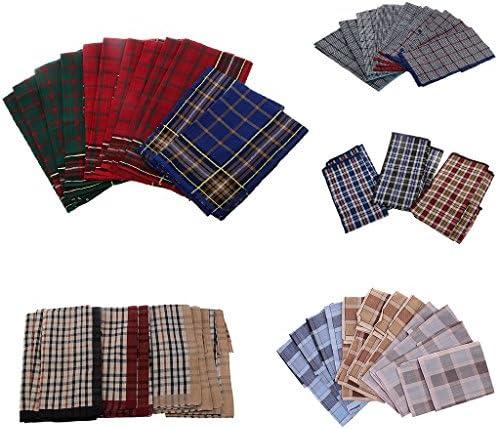 ハンカチ メンズ ビジネスマンハンカチ 格子縞のパターン 正方形 柔らかい 吸水速乾性 約24枚セット