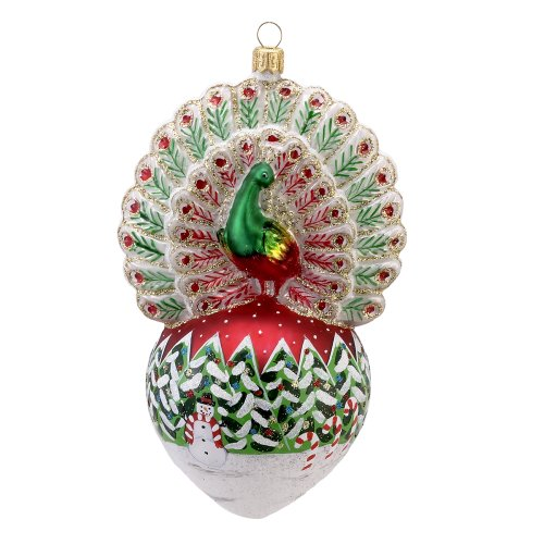 David Strand Kurt Adler Glass Proud Peacock Snowfall Ornament, 6.5-Inch