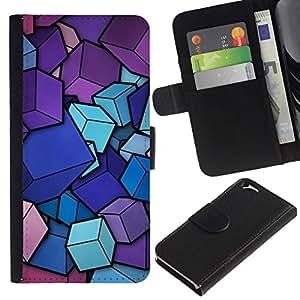 All Phone Most Case / Oferta Especial Cáscara Funda de cuero Monedero Cubierta de proteccion Caso / Wallet Case for Apple Iphone 6 // Pink Purple Blue Cubes Pattern