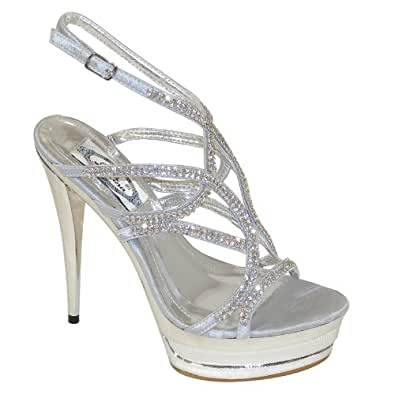 Amazon.com | New Brieten Women's Rhinestone Ankle Strap