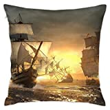 Oh-HiH 18' X 18' Inch Square Throw Pillow Covers Sofa Cushions Pillowslip Case Ship Assassins Creed Pillowcase for Household Bed Sleeping