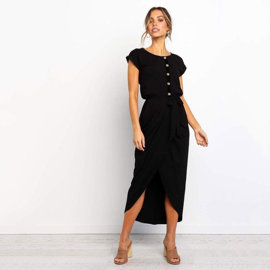 LIM/&Shop Summer Shirt Dress Short Sleeve Casual Top Side Split Pencil Dress Button Up O-Neck Maxi Dress Waist Belted