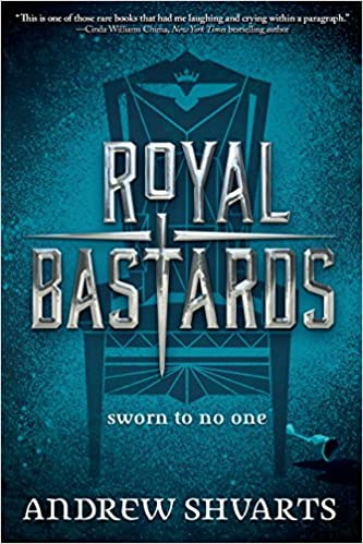 Cover picture of the book 'Royal Bastards' a throne on a blue background