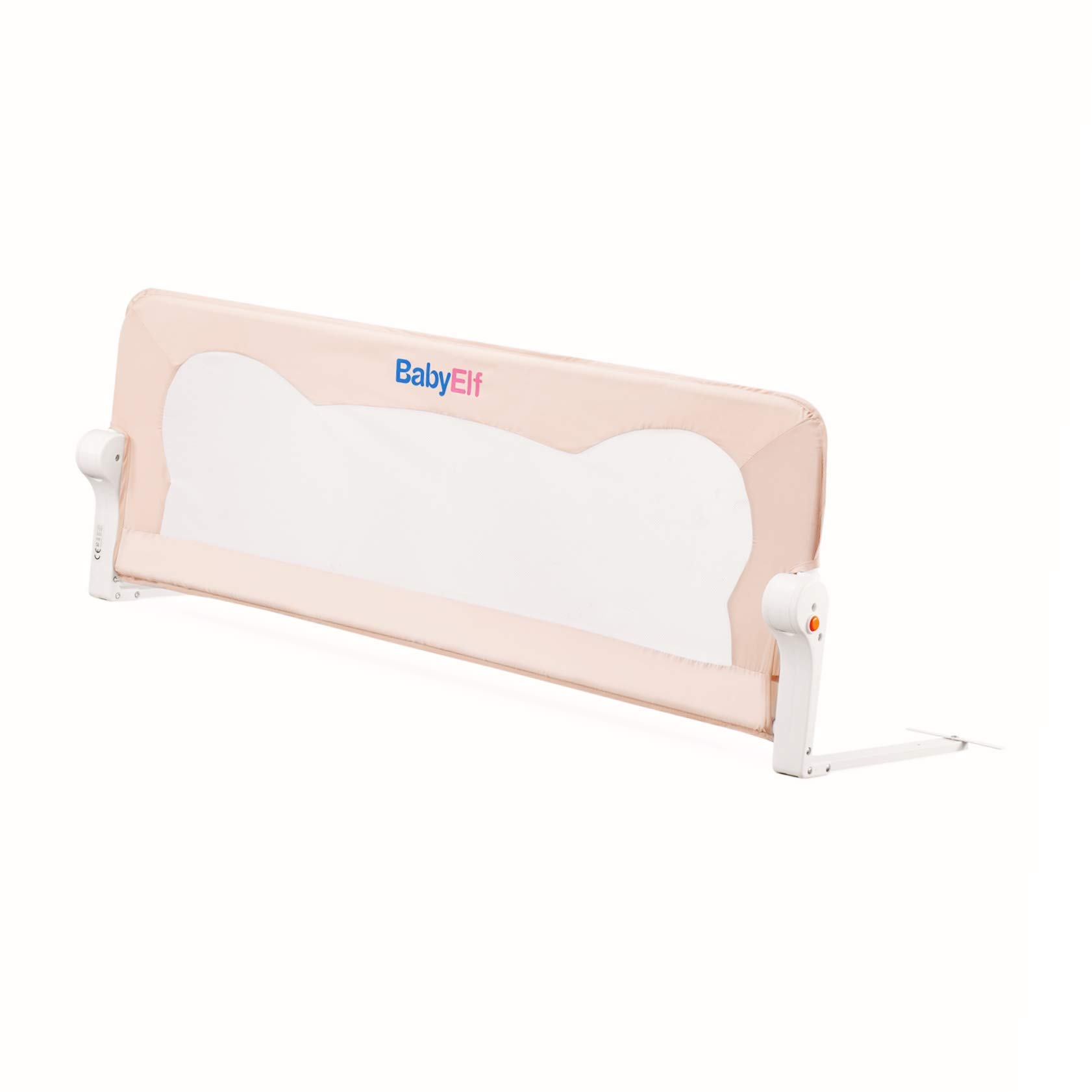 BABY ELF Bed Rail - Mesh Bed Rail for Toddlers - Single Fold Safety Bedrail - Queen Size Bed Guard for Kids - Beige Color - Easy to Use - for The Baby's Safe Sleep (47 inch Shipped from US)