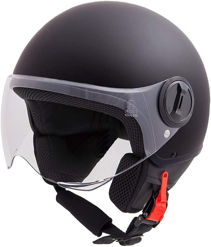 Vinz Sole Roller Helm Jethelm Fashionhelm In Gr Xs Xl Jet Helm Mit Visier Ece Zertifiziert Motorradhelm Basic Schwarz Matt Auto