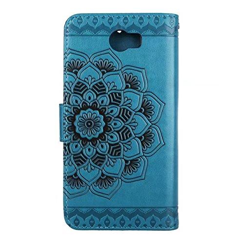 YAJIE-Carcasa Funda Para Huawei Y5II / Y5 2 / Y6II Diseño de flor en relieve compacto medio [Correa de la muñeca] Bolsa de cuero de la PU Premium Flip Funda del soporte ( Color : Black ) Blue