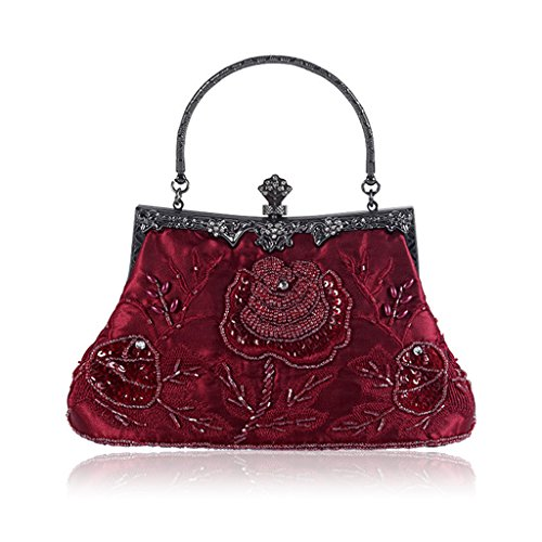 Numkuda Vintage Style Beaded Floral Evening Clutch Bag Wedding Party Prom Purse Handbag (wine red)