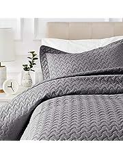 AmazonBasics Oversized Quilt Coverlet Bed Set - Twin, Dark Grey Wave