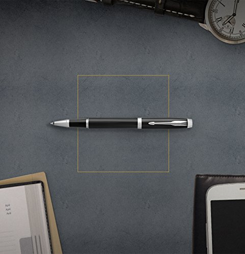 Parker IM Rollerball Pen, Black Lacquer Chrome Trim with Fine Point Black Ink Refill (1975540) by Parker (Image #4)