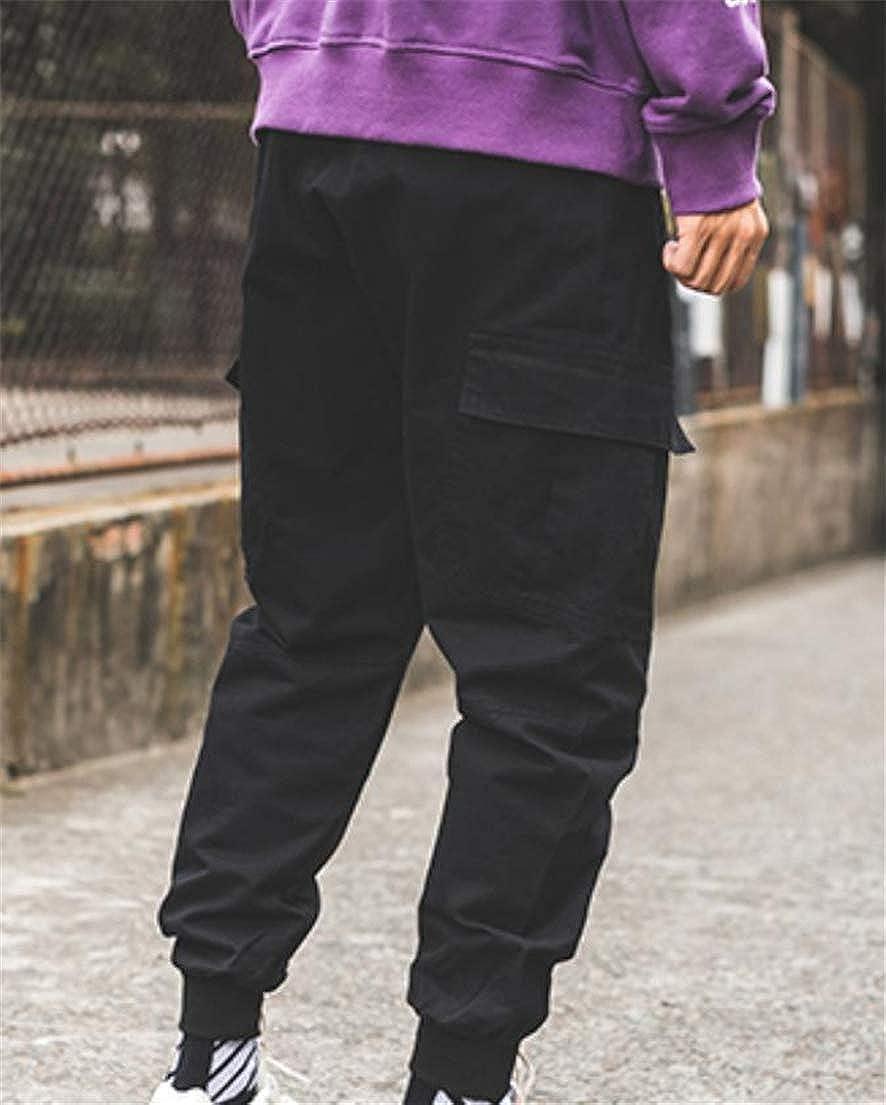Hajotrawa Mens Harem Vintage Cargo Joggers Multi-Pocket Mid Rise Trousers Pants