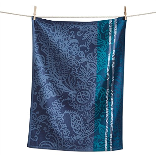 TAG Paisley Floral Jacquard Woven Dishtowel Cotton Kitchen Dish Cloth Blue Green (Dish Paisley Cotton)