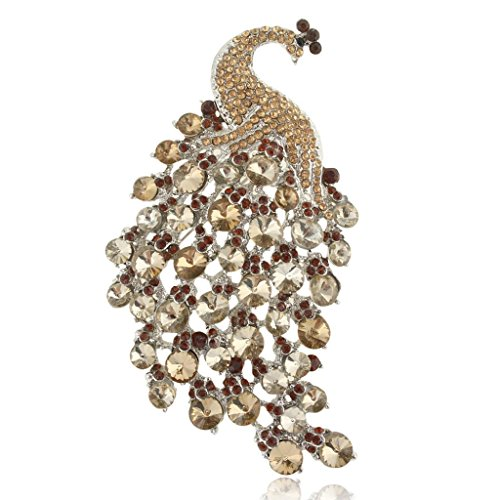 Brown Silver Brooch - EVER FAITH Women's Austrian Crystal 4 Inch Elegant Peacock Animal Brooch Brown Silver-Tone